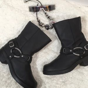 Harley black leather harness boots